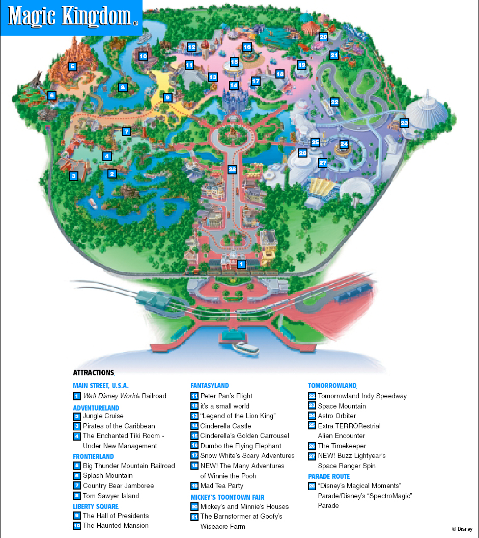 ... Park In The World Magic Kingdom Park Map Click On Map For Larger View